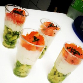 Verrines saumon Boursin et avocat