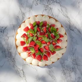 Tarte aux fraises, citron vert et basilic