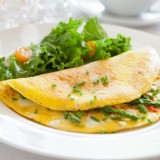 Omelette chèvre et Basilic