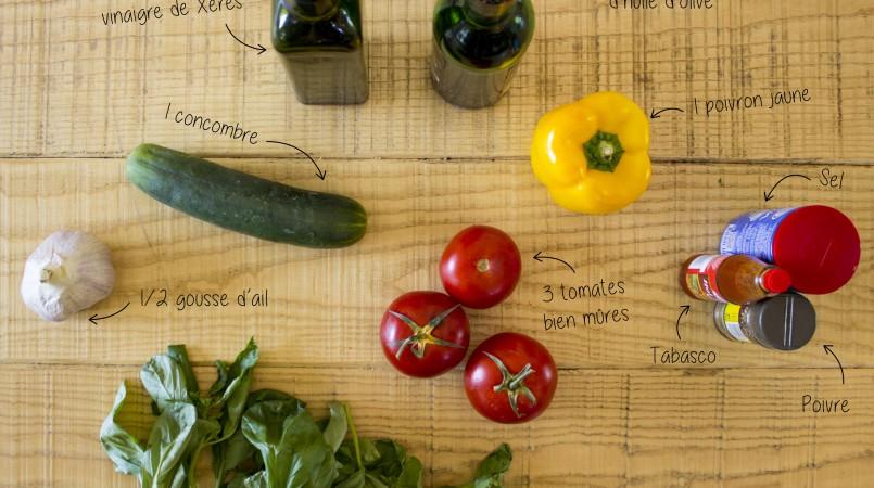 Gaspacho tomate, concombre, poivron