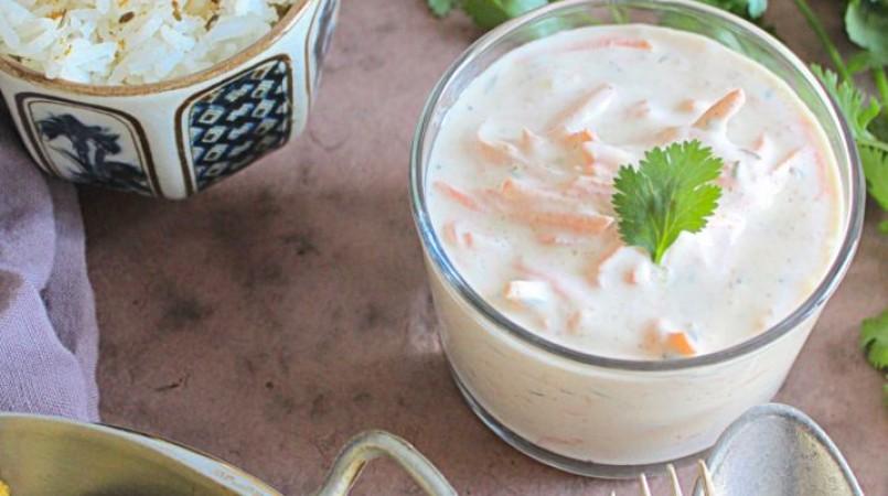 Raita de carottes, spécialité indienne au yaourt