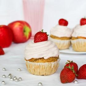 Cupcakes vanille fraise & ganache fraise