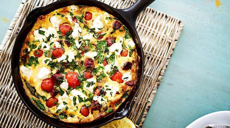 Omelette d'été tomates-feta-chorizo