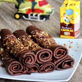 Chocolate & Cacolac roll pancakes
