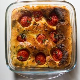 Clafoutis aux tomates cerise et chèvre