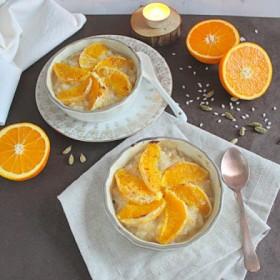 Riz au lait façon crème brulée, cardamome et orange (option vegan)