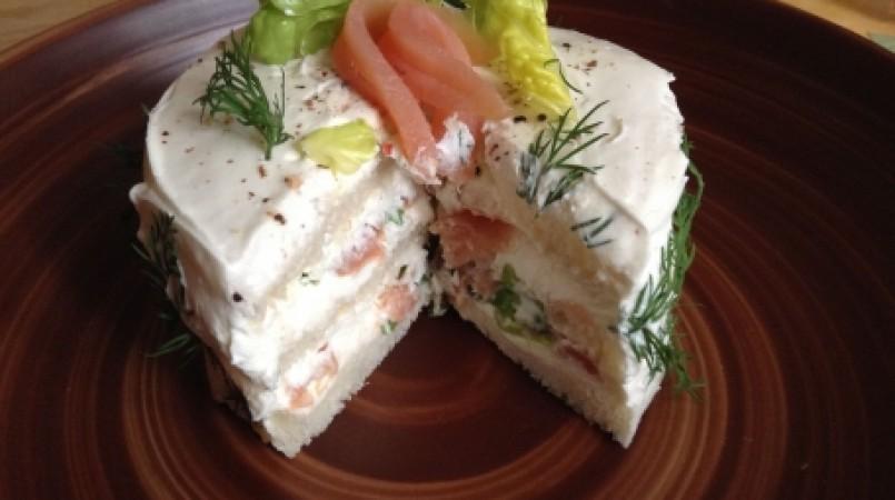 Sandwich cake au saumon fumé